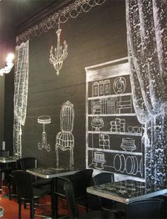 Chalk board wall scene.  large panels of chalk board with geo designs