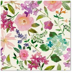 Floral Watercolor Wrapping Paper Roll