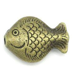 "40PCs Bronze Tone Fish Design Beads 15mm x 20mm( 5/8""x 6/8"")"