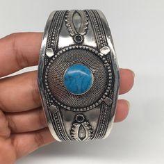 Afghan Ethnic Turkmen, Kuchi Tribal Blue Turquoise Inlay cuff bracelet Handmade Jewelry Supplies, Handicraft, Gemstone Jewelry, Ethnic, Handmade Jewelry, Turquoise, Gemstones, Sterling Silver, Bracelets