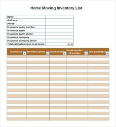 Inventory Template For Rental Property