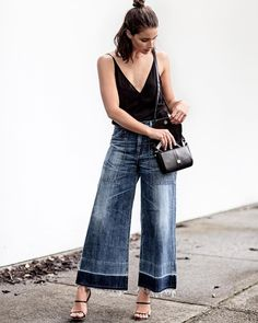 cropped wide leg pants. cool pocket detail. potential reef camisole styling