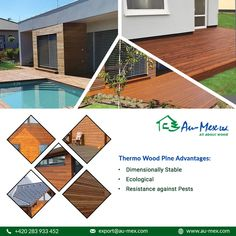 Use Au-Mex thermal wooden pine cladding (Thermo pine cladding) for ecological thermo wooden facade in custom dimensions for home energy saving and most comfortable. Wooden Cladding, Wooden Facade, Stables, Ecology, Save Energy, Stability, Pine, Profile, Outdoor Decor