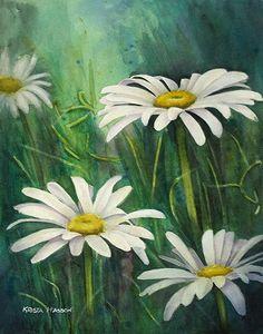 "Studio Sale! Wild Daisies Original Watercolor Painting 11 x 14"" by Krista Hasson $295.00"