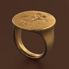 Gold ring with engraved siren, Greek 4th century B.C.