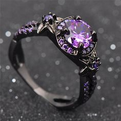 Amethyst engagement ring women wedding Emerald engagement ring Unique three stones Bridal Jewelry Alternative Birthstone Anniversary gift All our diamonds are natural and not clarity enhanced or treated in anyway. We only use conflict-free diamond Black Gold Jewelry, Black Rings, Gold Rings, Vintage Engagement Rings, Vintage Rings, Ring Set, Purple Amethyst, Purple Diamond, Amethyst Stone