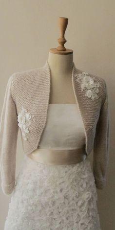 Nupcial Bolero boda Shrug abrigo capucha flor encaje chal chaqueta 3/4 de manga