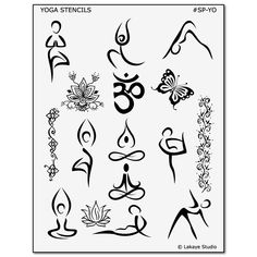 Create your own DIY Henna designs with Yoga Henna stencils from Earth Henna. Pack features eucalyptus oil and 15 Yoga inspired henna stencils. Yoga Tattoos, New Tattoos, Tatoos, Yoga Logo, Tatouage Yogi, Yoga Inspiration, Tattoo Inspiration, Yoga Kunst, Petit Tattoo