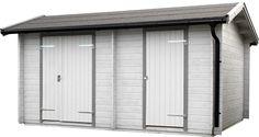 Förråd Skyarp 15 Ett knuttimrat förråd med två separata oisolerade dörrar samt mellanvägg. Ger dig möjlighet till olika typer av förvaring i ett och samma förråd. Önskas en isolerad dörr rekommenderar vi att du köper till en 13x19 dörr och/eller en 8x19 dörr med nyckellås. Garage Doors, Outdoor Decor, Ideas, Home Decor, Velvet, Boden, Decoration Home, Room Decor, Carriage Doors