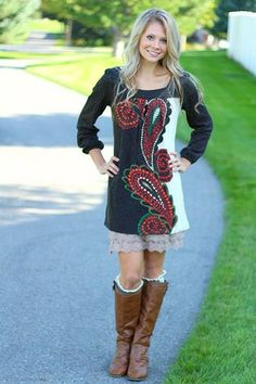 Two Toned Paisley Sweater Dress Nanamacs Boutique, Autumn Fashion 2018, Great Women, Fall 2018, Outfits For Teens, What To Wear, Paisley, Women's Fashion, Clothes For Women