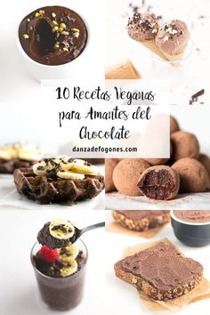 10 vegan recipes for chocolate lovers. They& so delicious, healthy and easy to make. You& gonna love them! Vegan Recepies, Vegan Dessert Recipes, Raw Food Recipes, Sweet Recipes, Veggie Recipes, Vegan Meal Prep, Vegan Vegetarian, Vegan Food, Vegetarian Lifestyle