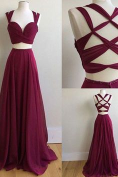 Two Piece Square Sweep Train Criss-Cross Straps Burgundy Chiffon Prom Dress
