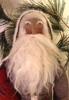 All my ability from God.....NeeSeY's WiNgS by Pam Napier ❤️ Primitive Folkart Old World Belsnickle Santa, Soft Sculpture Santa