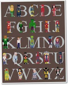 Superhero Alphabet Pixel People Sampler