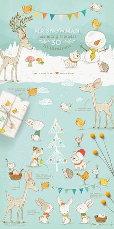 Whimsical animals and cute Christmas clipart