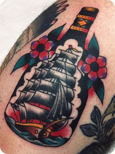old school / traditional nautic ink - caravel in a bottle
