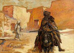 Algérie - Peintre Français, Louis Ferdinand Antoni(1872-1940),Huile sur toile, Titre: Scène de village en Algérie