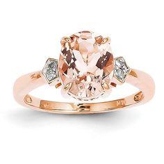 Amazon.com: 14k Rose Gold Diamond And Morganite Ring, Size 7: Jewelry