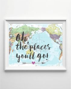 Oh the Places You Will Go Nursery Quote Girl Nursery by PrintyMuch