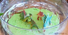 Need to engage your child in some independent play? Don't have time for a fancy activity? Set up some dino slime - easy sensory play in a bowl!