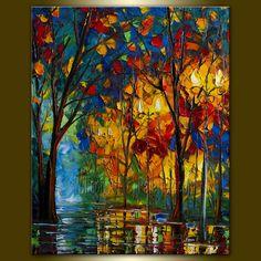 Original Textured Palette Knife Landscape Painting by willsonart, $265.00