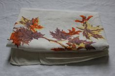 Vintage 1960's  Large Autumn Leaf Linen by GeorgetteEtJosephine, $20.00 Linen Tablecloth, Autumn Leaves, Throw Pillows, Trending Outfits, Unique Jewelry, Handmade Gifts, Etsy, Vintage, Kid Craft Gifts