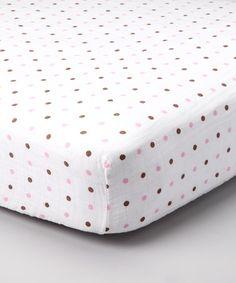 Take a look at this Pink & Brown Polka Dot Organic Crib Sheet by Bambino Land on #zulily today!