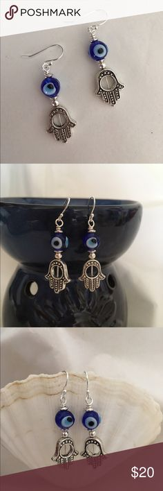 """Bohemian Hamsa Hand Eye Earrings Awesome Bohemian Style Antique Silver Hamsa Hand Charms with Blue Glass Turkish Evil Eye Beads! These Have Sterling Silver Earwires and include rubber safety backs 1 3/4"""" Jewelry Earrings"""