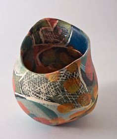 "Carolyn Genders, Ceramics,""I'm interested in creating pieces that have harmony of form & surface. Landscape & seasonal change loosely interpreted is inspiration for my new series; noting atmosphere, mood, rhythm & texture . Coiling is rhythm attuned to this natural beat. Inspired also by paintings of British artists of 1930's 40's 50's."" Wealden Garden III Sm. 18h x 15w x 16d."