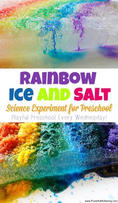 preschool science experiment with salt and ice in a rainbow style! See the difference between using color salt vs water colors. Great playful preschool idea.