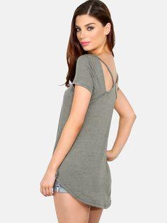 Short Sleeve Racerback T-Shirt OLIVE | MakeMeChic.COM
