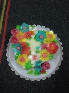 colorful flowers agar agar cake