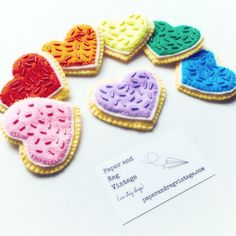 FREE SHIPPING! Felt Cookie Set: 7 Hand-Stiched, Hand-Beaded Play Cookies in a Rainbow of Colors!  Wrapping included for gifting. HM11 by PaperAndRagVintage on Etsy https://www.etsy.com/listing/492585707/free-shipping-felt-cookie-set-7-hand