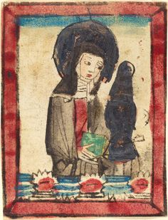 Saint Clare of Assisi, German c.1450/1470, hand-coloured woodcut. Rosenwald Collection, National Gallery of Art, Washington DC, USA.