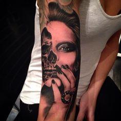 Half Girl Half Skull Tattoos Google Search Tattoos T