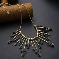 Hot Seller.  Party Statement Retro Bronze Euro America Gem Flower Fringed Collar Necklace For Women.