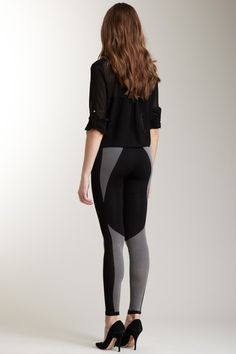 Two Tone Legging / Black Sheer Button Up