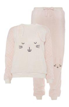 Primark - Novelty Pink Rabbit Sherpa Pyjama Set