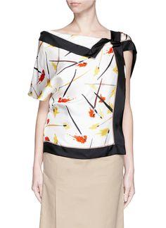 Paintbrush print reversible silk twill shirt