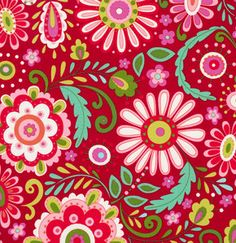 Love and Joy Daisy Floral Red Dena Designs by spiceberrycottage, $10.00