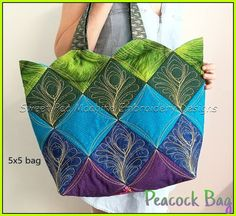 Peacock quilt blocks and bag 4x4 5x5 in the hoop machine embroidery design