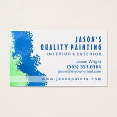 blue green painter business card - Painting Business Cards