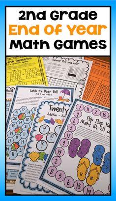 End of the Year Math Games Second Grade: Summer Packet Activities Second Grade Teacher, 2nd Grade Math, Printable Math Games, Printables, Math Concepts, End Of Year, Summer School, Math Activities, Teaching Ideas