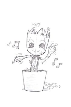 Just a casual picture of Baby Groot - # casual . Just a casual picture of Baby Groot - # casual You possibly can work with the pencil drawing. Disney Character Drawings, Disney Drawings Sketches, Music Drawings, Cool Art Drawings, Drawing Sketches, Drawing Disney, Drawing Designs, Disney Cartoon Drawings, Drawing Drawing
