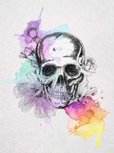 Skull maybe no Flowers watercolor drawing. Would make a nice tattoo. But still pretty either way Watercolour Tattoos, Watercolor Drawing, Watercolor Flowers, Drawing Flowers, Watercolor Background, Tumblr Hipster, Hipster Art, Art Floral, Inspiration Tattoos