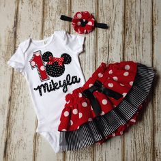Minnie Mouse Red, White, and Black Name Onesie with Skirt and Headband - First Birthday, Cake Smash, Photography Prop by Polkadotologie on Etsy https://www.etsy.com/listing/213542822/minnie-mouse-red-white-and-black-name