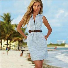 Venus Blue and White Striped Dress Venus Blue and White Striped Dress with Belt. Size 4. In excellent condition, worn once. Venus Dresses Midi