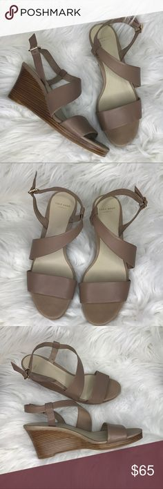 COLE HAAN Nude Tan Wedge Strap Sandal COLE HAAN Nude Tan Wedge Strap Sandal- Size 8. Perfect neutral! Worn once. No flaws. Cole Haan Shoes Wedges