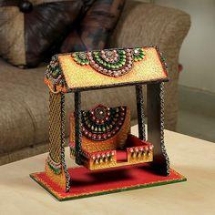 Aapno Rajasthan Textured Clay Design Puja Jhula In Wood N Clay,Prayer Accessories Thali Decoration Ideas, Decoration For Ganpati, Diwali Decorations, Vase Crafts, Craft Stick Crafts, Diy Crafts For Kids, Handmade Decorative Items, Janmashtami Decoration, Wedding Gift Wrapping