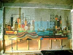A beautiful mid-century mosaic mural found behind the walls of a soon to be demolished Los Angeles hotel. The man who discovered it bought it for a song, and now has it hanging in his home. This kind of thing NEVER happens to me.